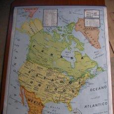 Mapas contemporáneos: ANTIGUO MAPA ESCOLAR - AMERICA DEL NORTE Y CENTRO (FISICO Y POLITICO) - DOBLE CARA Y GRAN TAMAÑO. Lote 47737569