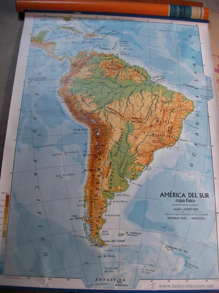 antiguo mapa escolar - america del sur (fisica) - Kaufen ...