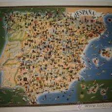 Cartes géographiques contemporaines: CURIOSO MAPA DE ESPAÑA. TALLERES OFFSET. SAN SEBASTIÁN. HECHO POR M. HEREDERO.. Lote 227962230