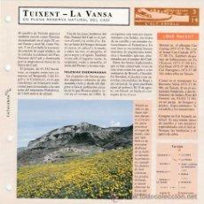 Mapas contemporáneos: TUIXENT - LA VANSA - ALT URGELL - RESERVA NATURAL DEL CADI - CATALUNYA VIVA - FICHA Nº 14 - AÑO 1993. Lote 47807752