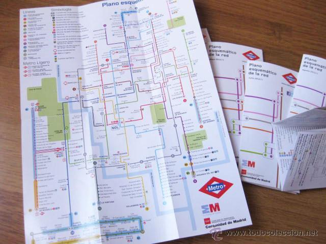 Mapas contemporáneos: LOTE DE 8 PLANOS DE METRO DIFERENTES DE 2012 - PLANO DEL METRO DE MADRID - Foto 2 - 48601336