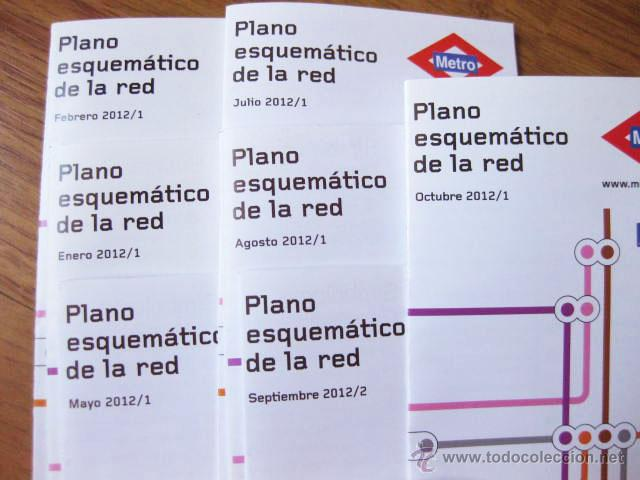 Mapas contemporáneos: LOTE DE 8 PLANOS DE METRO DIFERENTES DE 2012 - PLANO DEL METRO DE MADRID - Foto 3 - 48601336
