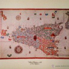 Mapas contemporáneos: SICILIA, REPRODUCCIÓN EN LAMINA DE 58,5 X 46,5 CM.DE JOAN MARTINEZ DEL ATLAS PORTULANOS,1587 COLOR . Lote 48816954