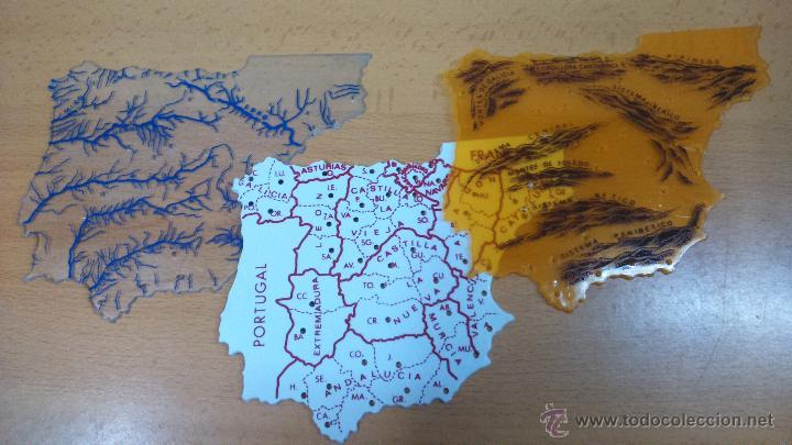 estuche de tres plantillas de espaa en plastic  Comprar Mapas