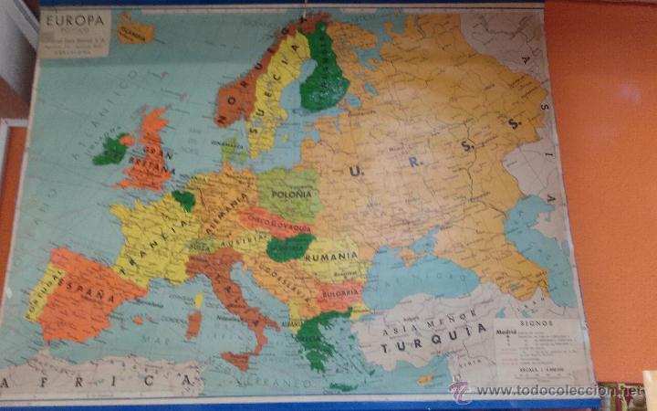 ANTIGUO MAPA DE EUROPA POLITICO - MAPA ESCOLAR - AÑO 1972 - EDITORIAL SEIX BARRAL ( BARCELONA) (Coleccionismo - Mapas - Mapas actuales (desde siglo XIX))