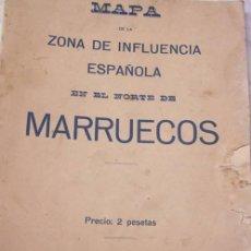 Mapas contemporáneos: MAPA DE MARRUECOS PLEGABLE. ZONA DE INFLUENCIA ESPAÑOLA 1913. DIMENSIONES: 35 X 52 CM.. Lote 49641014