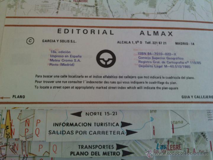 Mapas contemporáneos: Plano Guia Callejero de Madrid Ciudad - Almax - Año 1985 - Foto 3 - 49828369