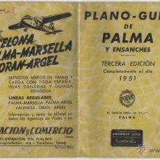 Mapas contemporáneos: DOCUMENTO PLANO GUIA PALMA Y ENSANCHES PUBLICIDAD AVIACION Y COMERCIO AVIACO MALLORCA 1951. Lote 50185864