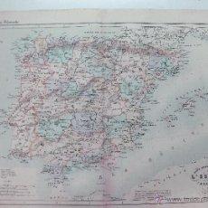 Mapas contemporáneos: MAPA DE ESPAÑA Y PORTUGAL DEL ATLAS GROSSELIN - DELAMARCHE 1874. 48 X 34 CM. LITOGRAFIA.. Lote 51575136
