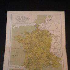Mapas contemporáneos: MAPA FRANCIA LAS GUERRAS RELIGIOSAS, MAPA ADICIONAL ALREDEDOR PARIS. Lote 51668479