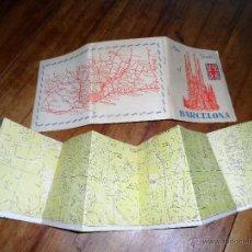 Mapas contemporáneos: PLANO Y GUIA TURÍSTICA Y MONUMENTAL DE BARCELONA, ESCRITA EN INGLÉS, AÑOS 50. Lote 51817551