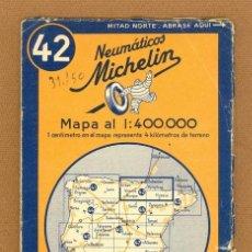 Mapas contemporáneos: MAPA MICHELIN DE ESPAÑA, NUMERO 42, BURGOS – SAN SEBASTIAN, DESPLEGABLE ESCALA A 1:400.000, AÑO 1942. Lote 52136515