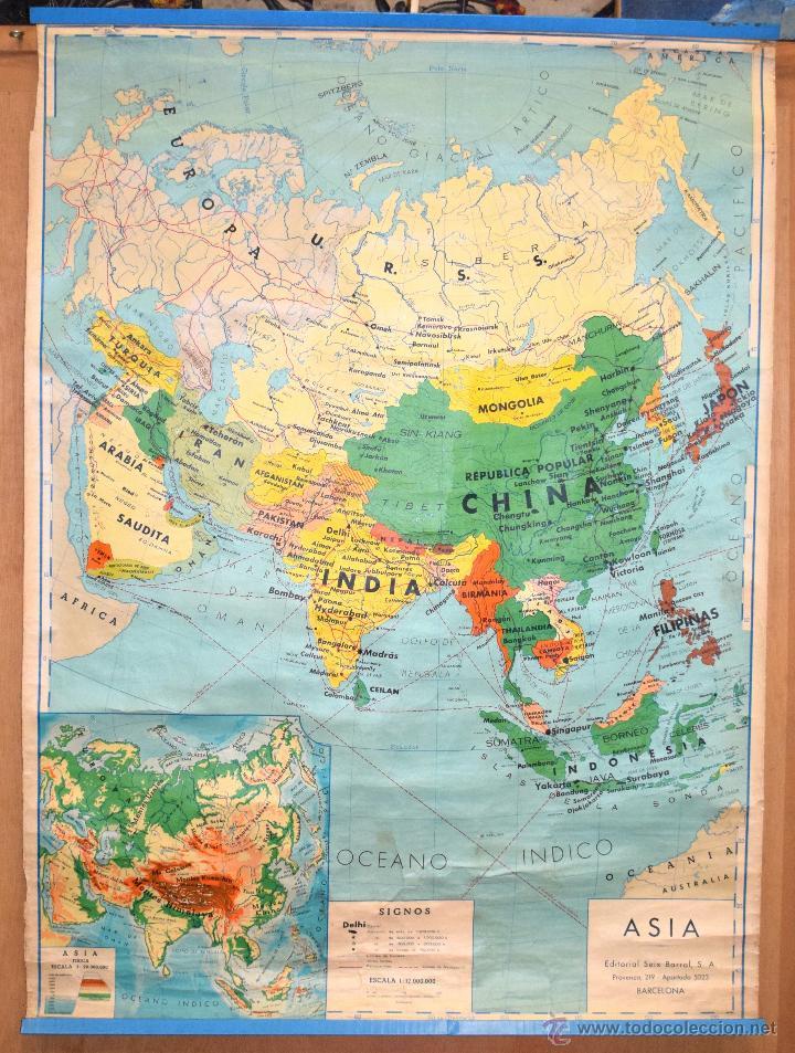 Mapa Asia Fisica Editorial Seix Barral Sa Barce Sold Through