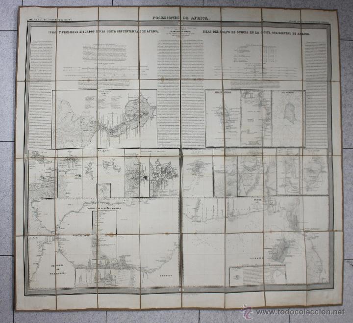Mapas contemporáneos: MAPA POSESIONES DE AFRICA. POR COELLO Y MADOZ, AÑO 1850 - Foto 2 - 269622288