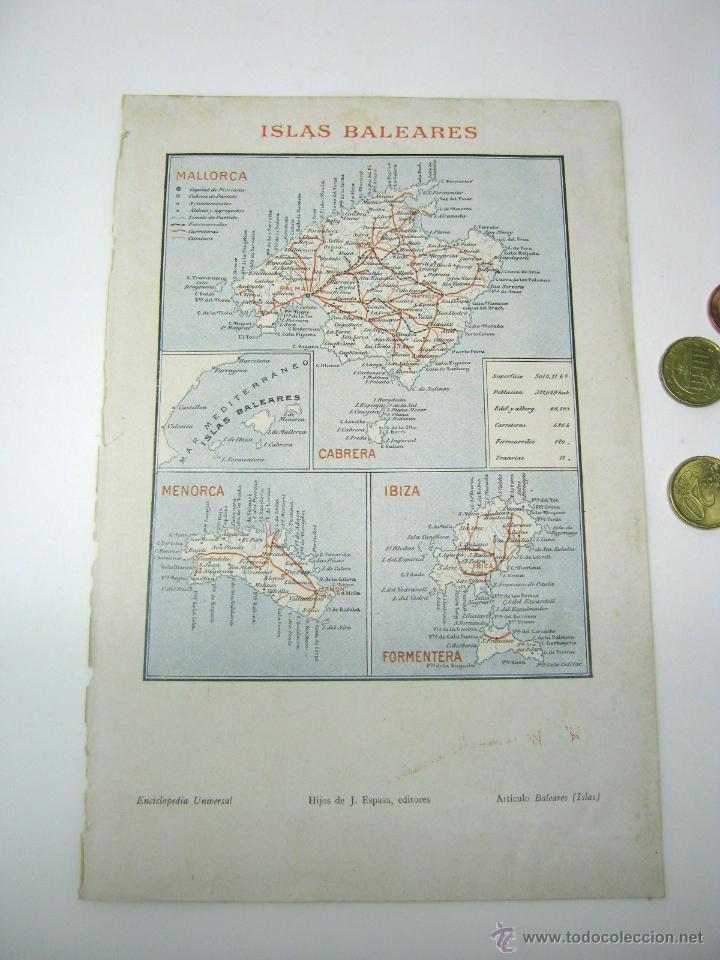 MAPA ISLAS BALEARES 1900 ESPASA - MALLORCA MENORCA IBIZA (Coleccionismo - Mapas - Mapas actuales (desde siglo XIX))