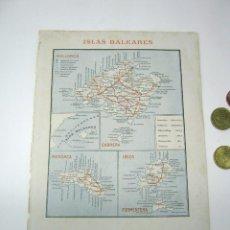 Mapas contemporáneos: MAPA ISLAS BALEARES 1900 ESPASA - MALLORCA MENORCA IBIZA. Lote 52562015