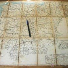 Mapas contemporáneos: CROQUIS PARA EL ESTUDIO DE LA GEOGRAFIA MILITAR DE ESPAÑA Y PORTUGAL - MAPA ENTELADO CON DIBUJO. Lote 52767441