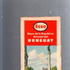 Mapas contemporáneos: MAPA DE CARRETERA. AÑOS 50. ESSO. MAPA DE LA REPUBLICA ORIENTAL DEL URUGUAY. Lote 52780027