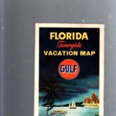 Mapas contemporáneos: MAPA DE CARRETERA. AÑOS 50. GULF. MAPA DE FLORIDA. Lote 52781117