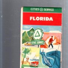 Mapas contemporáneos: MAPA DE CARRETERA. AÑOS 50. CITIES SERVICE. MAPA DE FLORIDA. Lote 52781357