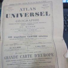 Mapas contemporáneos: ATLAS UNIVERSEL GÉOGRAPHIE DU MONDE ET LA STATISTIQUE LA PLUS RÉCENTE ET LA PLUS COMPLÈTE AÑO 1875. Lote 53135340