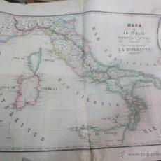 Mapas contemporáneos: MAPA DE LA ITALIA MERIDIONAL Y CENTRAL EDIT LA ESPERANZA AÑO 1862. Lote 53135504
