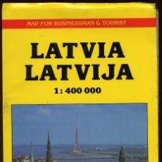 Mapas contemporáneos: MAPA LETONIA. LATVIIA LATVIJA ESCALA 1 400 000 CON INDICE DE CALLES --------(REF M1 E1DETRAS). Lote 53203496