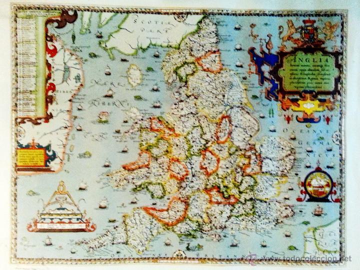 MAPA - SAXTON`S MAP OF ENGLAND AND WALES , AÑO 1570 - IMPRESION LIMITADA DEL AÑO 1971. DEL BRITISH M (Coleccionismo - Mapas - Mapas actuales (desde siglo XIX))