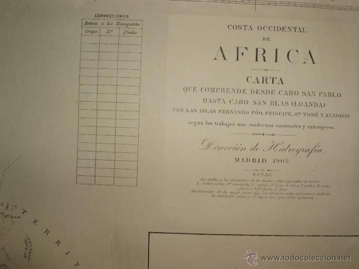 Mapas contemporáneos: MAPA. CARTA DESDE CABO SAN PABLO HASTA CABO SAN BLAS (LOANDA) DIRECCION HIDROGRAFIA 1905 - Foto 2 - 54769044