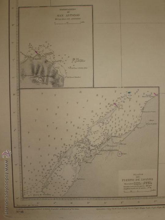 Mapas contemporáneos: MAPA. CARTA DESDE CABO SAN PABLO HASTA CABO SAN BLAS (LOANDA) DIRECCION HIDROGRAFIA 1905 - Foto 3 - 54769044