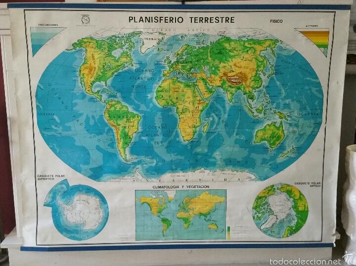 Mapas contemporáneos: MAPA MUNDI ESCUELA 1980 DALMAU CARLES PLA 122 X 92 cms - Foto 2 - 54996261