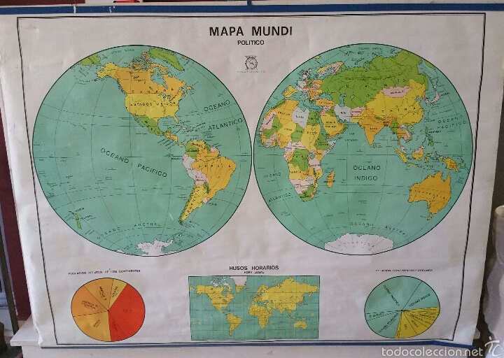 Mapas contemporáneos: MAPA MUNDI ESCUELA 1980 DALMAU CARLES PLA 122 X 92 cms - Foto 9 - 54996261