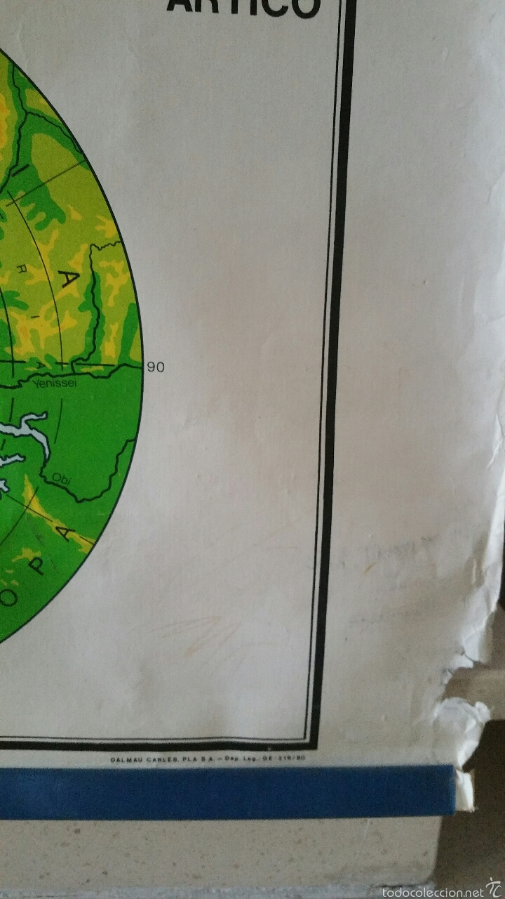 Mapas contemporáneos: MAPA MUNDI ESCUELA 1980 DALMAU CARLES PLA 122 X 92 cms - Foto 15 - 54996261
