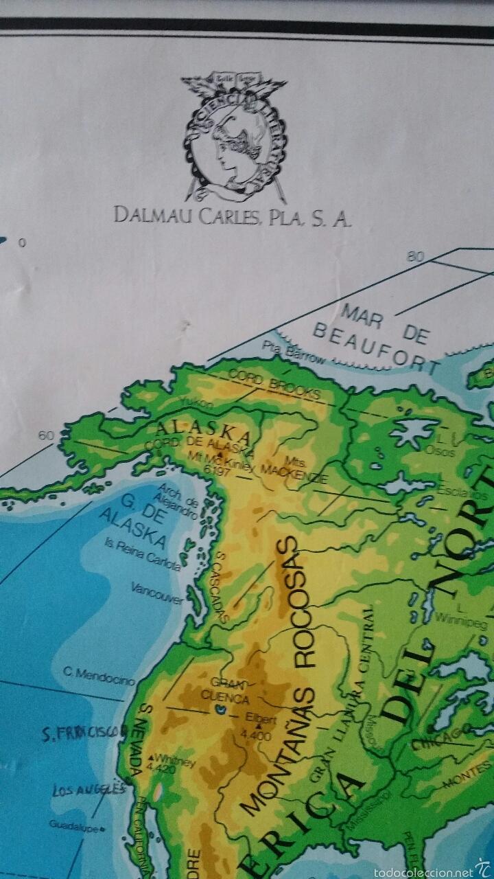 Mapas contemporáneos: MAPA MUNDI ESCUELA 1980 DALMAU CARLES PLA 122 X 92 cms - Foto 20 - 54996261
