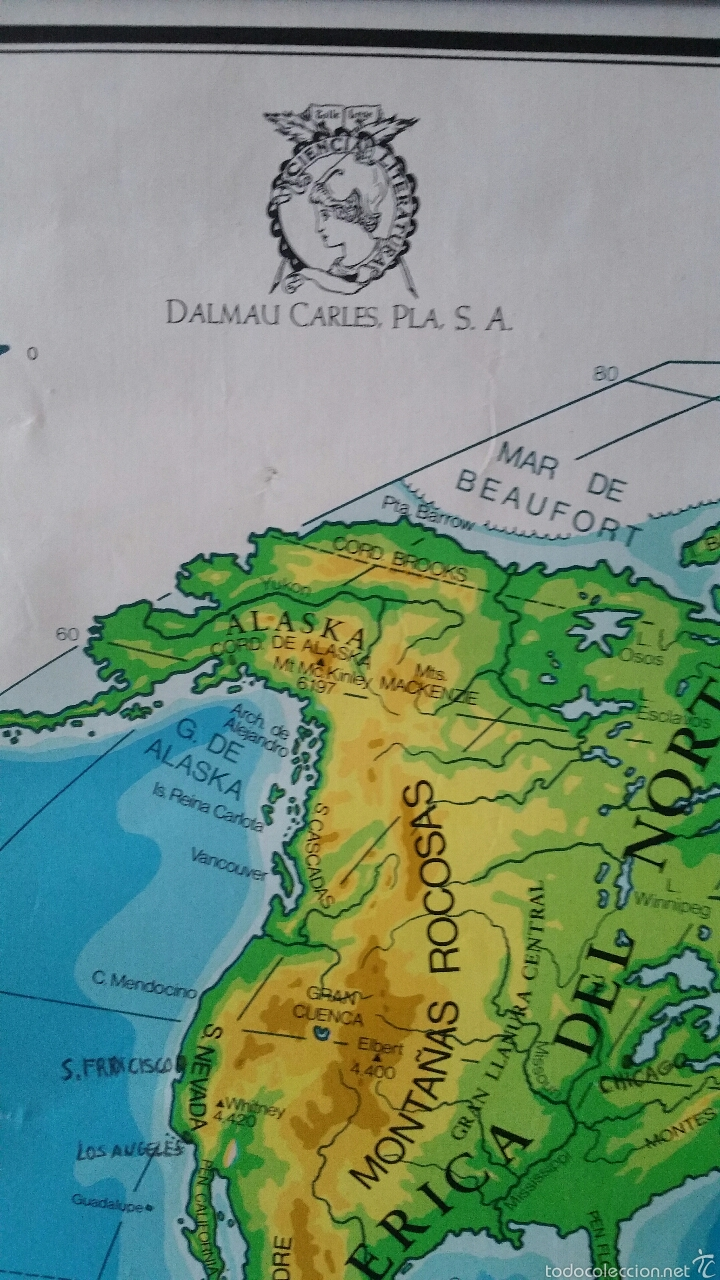 Mapas contemporáneos: MAPA MUNDI ESCUELA 1980 DALMAU CARLES PLA 122 X 92 cms - Foto 23 - 54996261