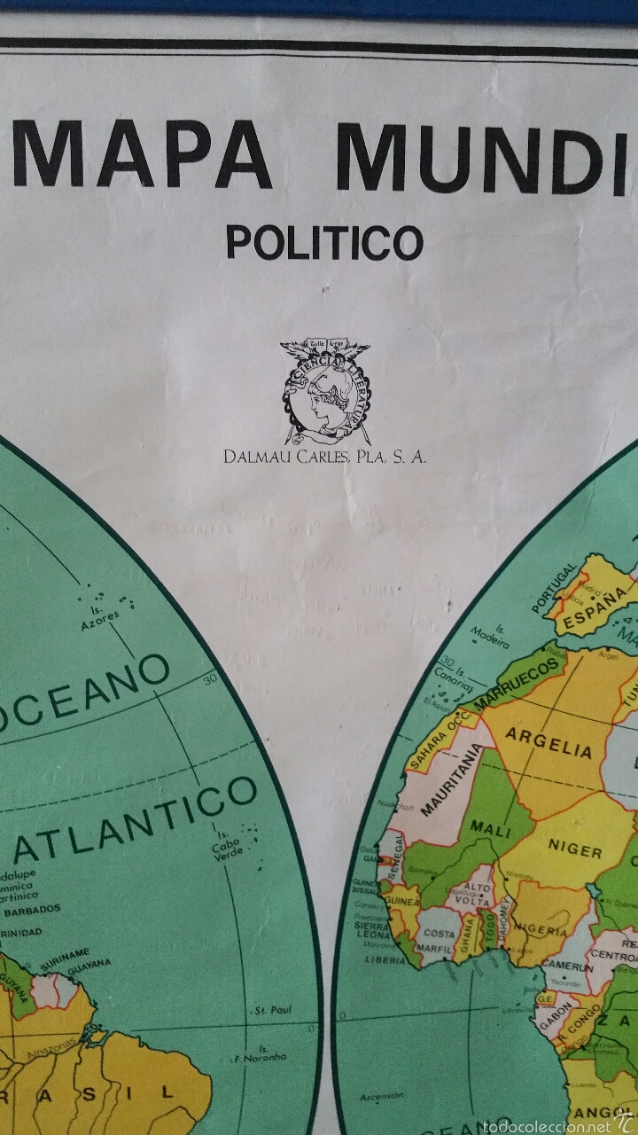 Mapas contemporáneos: MAPA MUNDI ESCUELA 1980 DALMAU CARLES PLA 122 X 92 cms - Foto 27 - 54996261