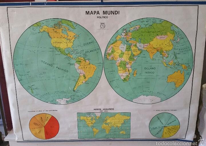 Mapas contemporáneos: MAPA MUNDI ESCUELA 1980 DALMAU CARLES PLA 122 X 92 cms - Foto 35 - 54996261