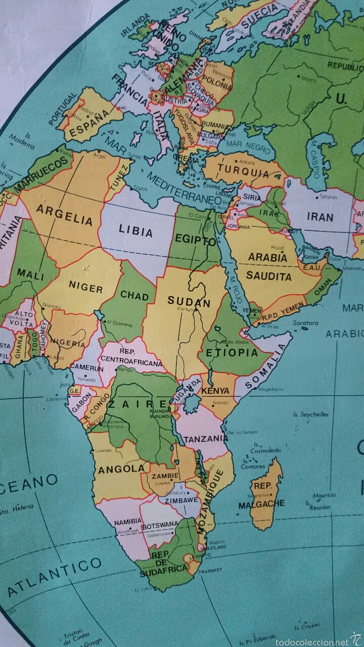 Mapas contemporáneos: MAPA MUNDI ESCUELA 1980 DALMAU CARLES PLA 122 X 92 cms - Foto 39 - 54996261