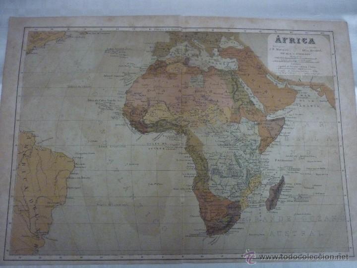 AFRICA. DOBLE PÁGINA. PLANO ILUMINADO, GEOGRAFÍA UNIVERSAL DE MALTE-BRUN 1876. (Coleccionismo - Mapas - Mapas actuales (desde siglo XIX))