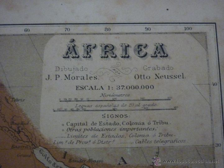 Mapas contemporáneos: AFRICA. DOBLE PÁGINA. PLANO ILUMINADO, GEOGRAFÍA UNIVERSAL DE MALTE-BRUN 1876. - Foto 2 - 55059362