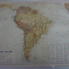 Mapas contemporáneos: AMÉRICA DEL SUR. DOBLE PÁGINA. PLANO ILUMINADO, GEOGRAFÍA UNIVERSAL DE MALTE-BRUN 1876.. Lote 55059431