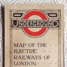Mapas contemporáneos: UNDERGROUND. MAPA PLEGADO DEL METRO DE LONDRES, REALIZADO EN 1919. BUEN ESTADO. SIN ROZADURAS. . Lote 55935321
