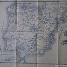 Mapas contemporáneos: MAPA, ESPAÑA, LINEAS FERROCARRIL, GUÍAS IBERIA COMUNICACIONES, AÑOS 30/40. Lote 69831611