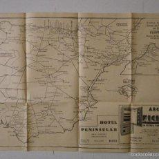 Mapas contemporáneos: MAPA, GRÁFICO DEL SERVICIO OFICIAL DE FERROCARRILES DE ESPAÑA, FERRO-VIA, AÑOS 30/40. Lote 56163892