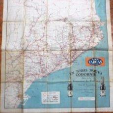 Mapas contemporáneos: MAPA EN TELA DE CARRETERAS DE CATALUÑA . AÑO 1927 . PUBLICIDAD CODORNIU AGUA FARGAS GASOLINA. Lote 56369240