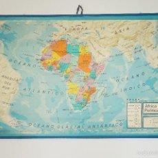 Mapas contemporáneos: MAPA ESCOLAR REVERSIBLE DE AFRICA, AÑOS 70. Lote 56718056