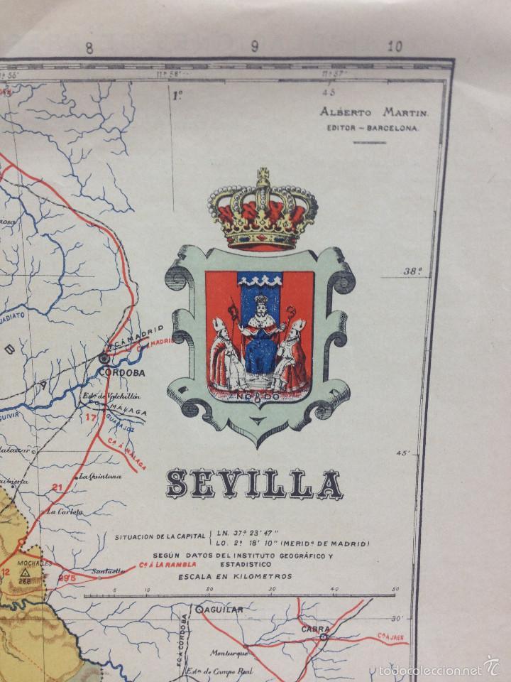 Mapas contemporáneos: MAPA PROVINCIA SEVILLA.INGENIERO BENITO CHÍAS YNG.ESCALA EN KILÓMETROS - Foto 2 - 56740260