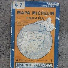 Mapas contemporáneos: MAPA DESPLEGABLE MICHELIN ESPAÑA Nº 47 MADRID - VALENCIA AÑOS 30 - 40. Lote 56856274