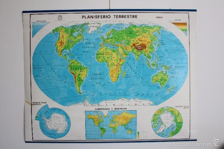 Mapa mural escolar a doble cara planisferio y vendido - Mural mapa mundi ...
