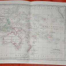 Mapas contemporáneos: MAPA OCEANIE , GRABADO POR DUMORTIER 1860 , HACHETTE , OCEANÍA. Lote 57320988